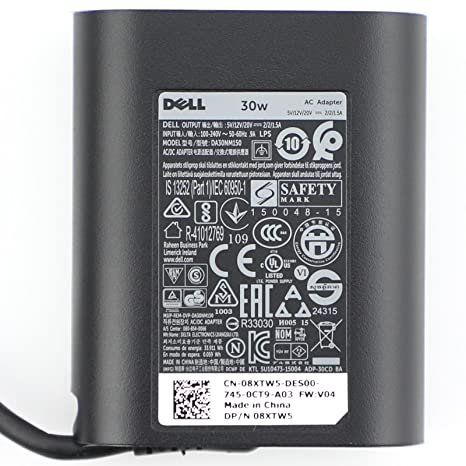 294d21cd050 Dell 30W USB-C(Type C) AC Adapter, Power Supply Charger for Dell XPS12(9250),  Dell Latitude 7275 5175 Venue 8 (5855) - Buy Dell 30W USB-C(Type C) AC  Adapter ...