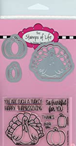 Thanksgiving Turkey Stamp and Die Combo Pack for Card-Making and Scrapbooking Supplies by The Stamps of Life - Turkey Pudgie