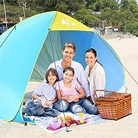 BFULL [Großes Zelt XXL für 1-4 Personen] Strandmuschel Pop up Zelt 230cm x 175cm x 145cm Familie Tragbares Strand-Zelt mit LSF50+ UV-Schutz