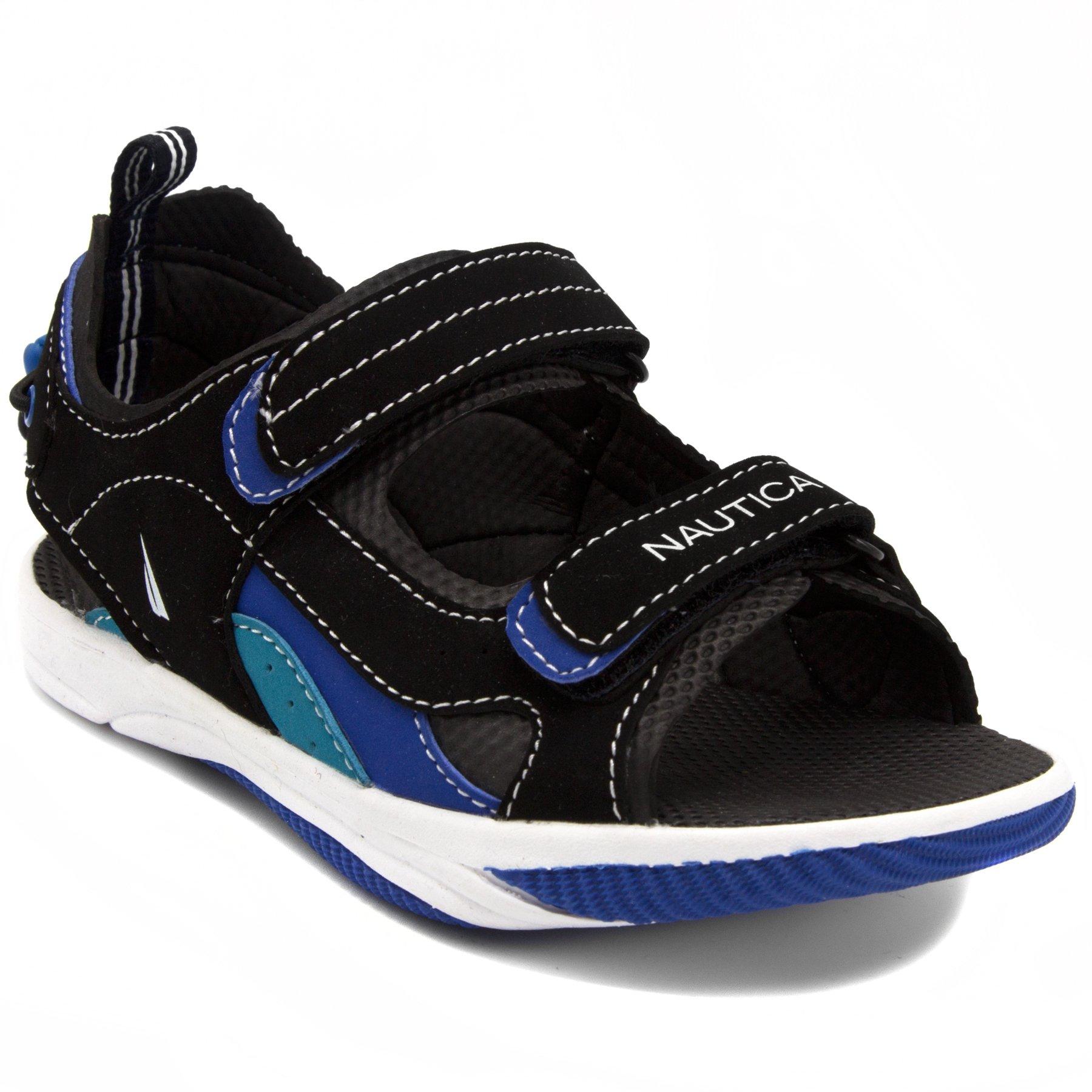 Nautica Kids Jamestown Sports Sandals, Open Toe Athletic Beach Water Shoes-Black/Blue/Teal-1