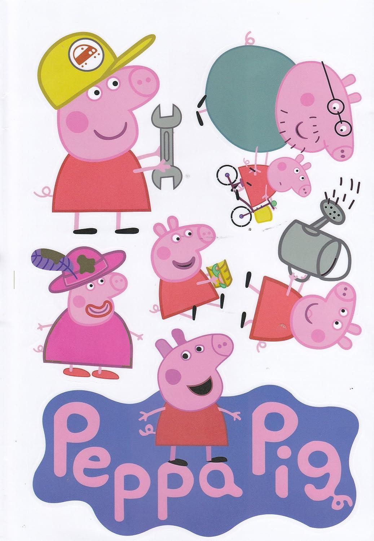 Peppa Pig y familia pegatinas decorativas para pared - ideal para ...
