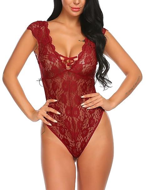 2cbd45cc4c81 ADOME Perspectiva Mujer Profundo V Cuello Lencería Lace Una Pieza de Noche  Erótica(Rojo S