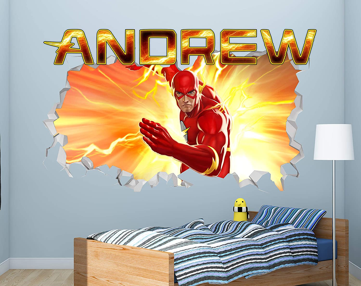 Flash Fire Custom Name 3D Personalized Wall Decal Sticker - Kids Wall Decor - Art Vinyl Wall Decal - MA200 (Small (Wide 22