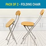 TIED RIBBONS Set of 2 Folding Chair for Kids Home School Study Folding Chairs for Boys & Girls Unisex (Set of 2, Tortilla Brown)