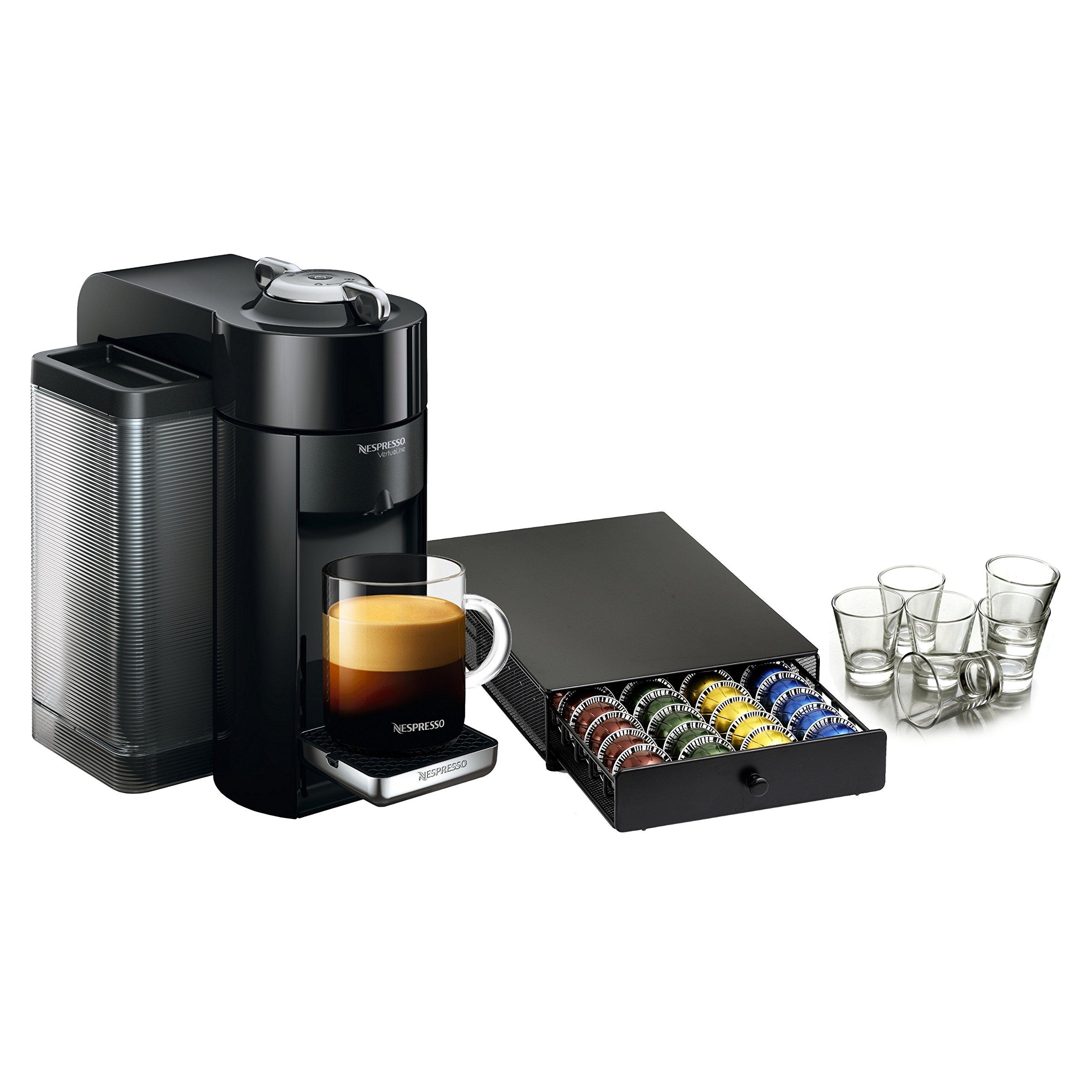 Nespresso VertuoLine Evoluo Deluxe Piano Black Coffee and Espresso Maker with 40 Capsule Storage Drawer and Free Set of 6 Espresso Glasses