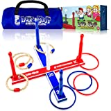 Loop & Hoop Ring Toss Game (Premium) - Ring Toss Games Set With 4 Quoits Rope Rings, 4 Plastic Rings & Carry Bag (Indoor & Outdoor Family Fun)
