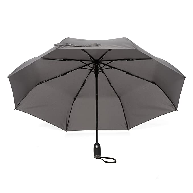 Arcadia Outdoors Charcoal Gray Wind Resistant Travel Umbrella - Auto Open/Close Button - Compact & Lightweight