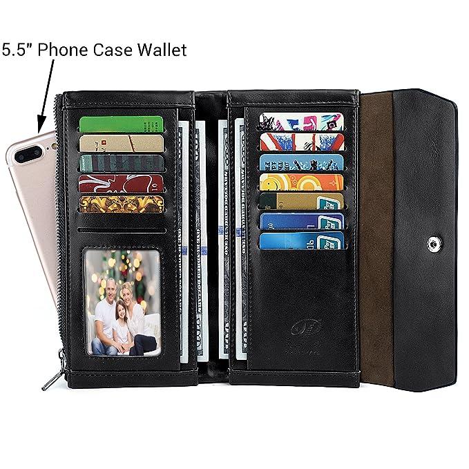 UTO Women Wristlet Small Wallet Compact Luxury Wax/Matte PU Leather Card Slot Zipper Coin Holder Purse