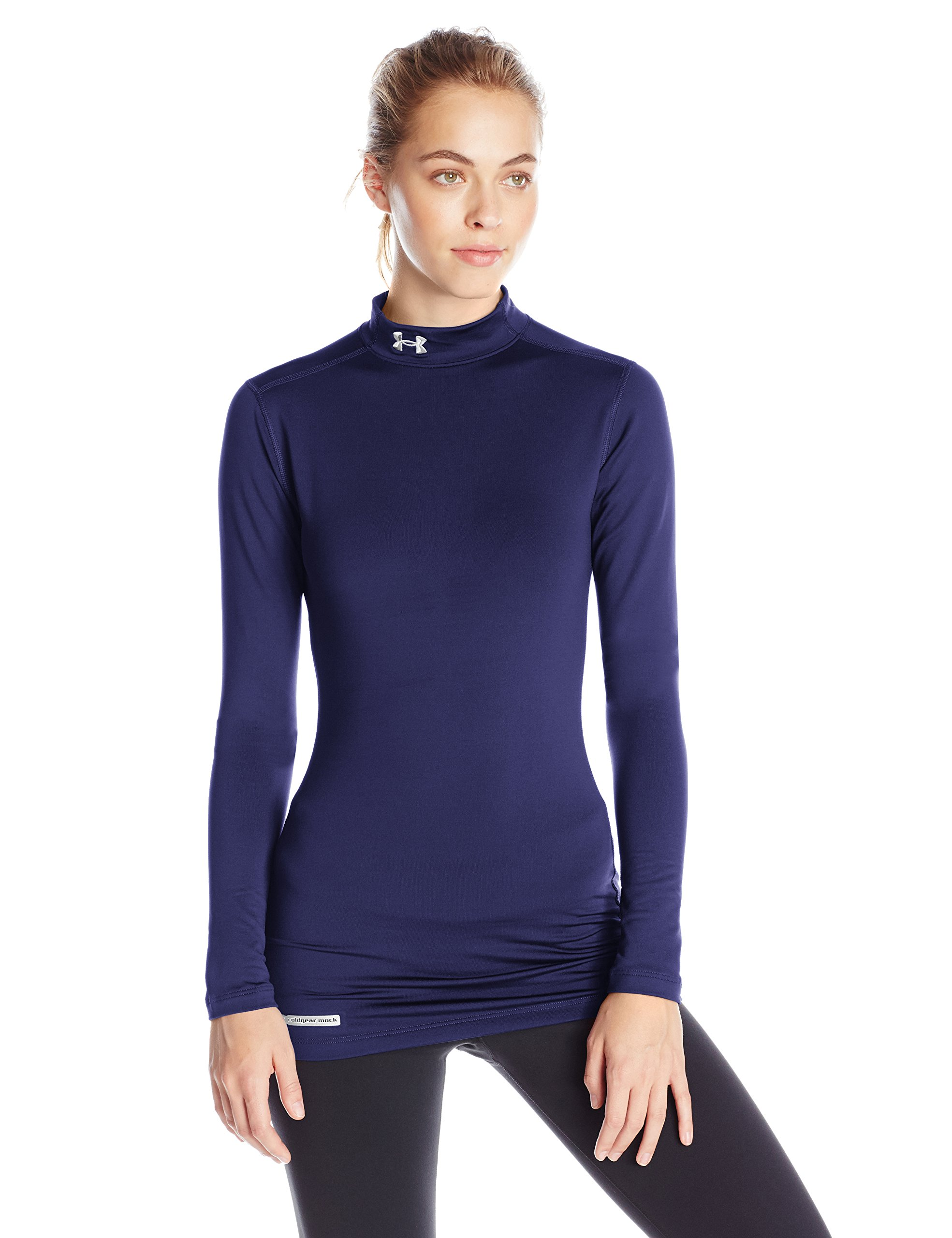 Under Armour Women's ColdGear Authentic Mock, Midnight Navy (410)/Metal, X-Large by Under Armour