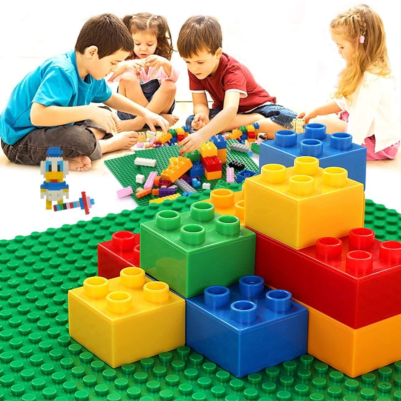 Wonderful Kids Building Bricks Base Plates 10''x10'' Compatible with All Major Brands,Green Building Brick Base Plates for Play Table or Displaying 4 Pack by EXERCISE N PLAY