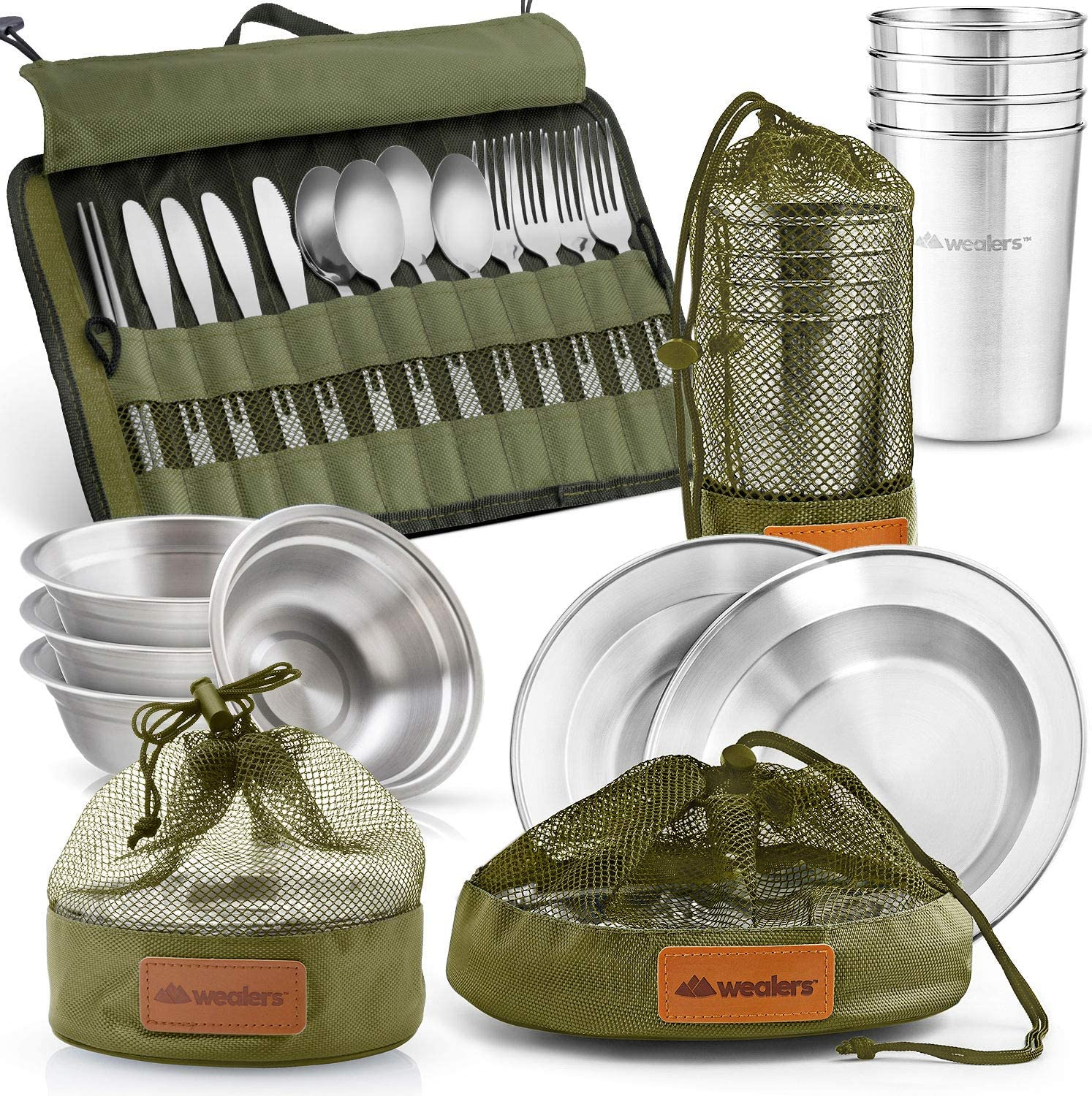 Cups 4 Person Set Wealers Unique Complete Messware Kit Polished Stainless Steel Dishes Set  Tableware  Dinnerware  Camping  Buffet  Includes Plates  Bowls  Cutlery  Comes in Mesh Bags