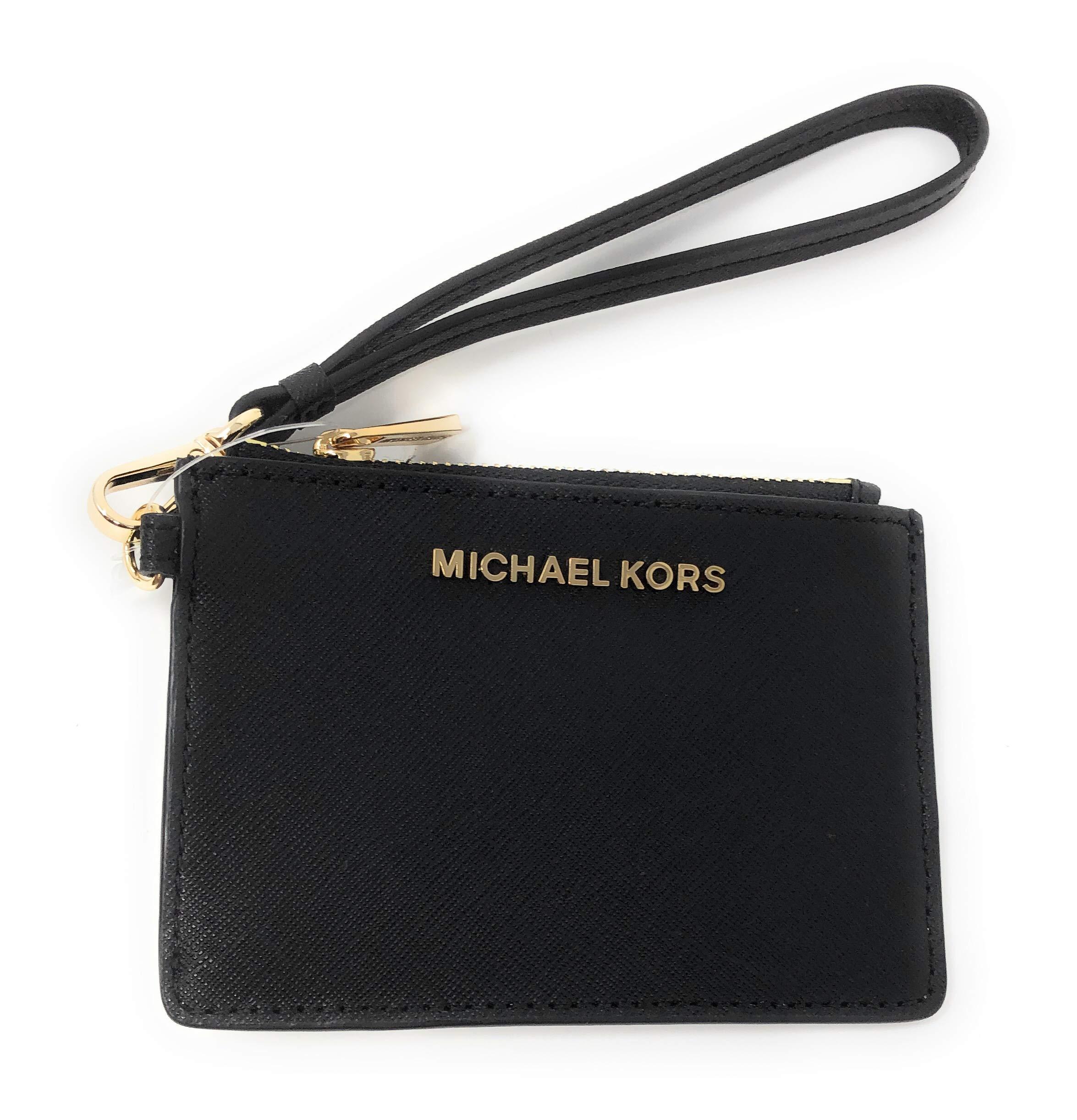 Michael Kors Jet Set Travel Top Zip Coin Pouch ID Card Case Wallet Wristlet (Black)