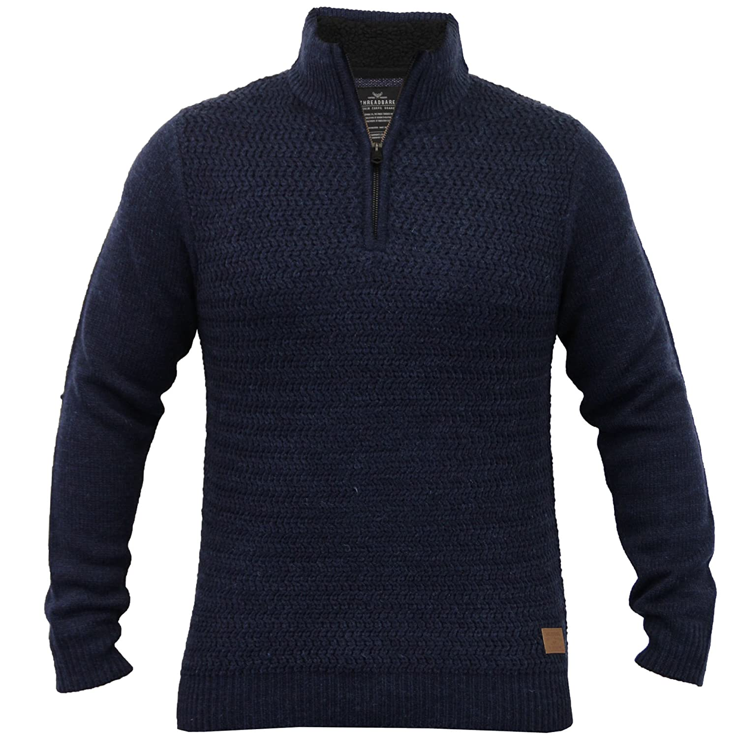 Mens Wool Mix Jumpers Threadbare Knitted Sweater Sherpa Funnel Neck Winter New