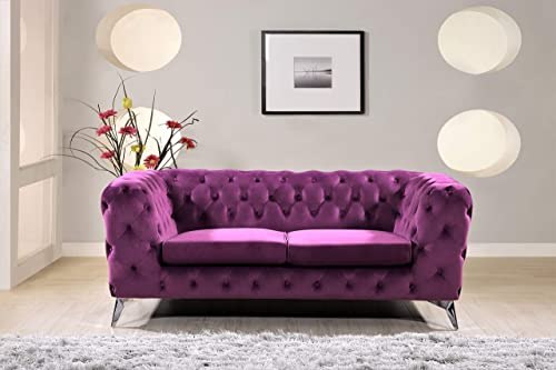 Container Furniture Direct Catalina Bridges Modern Velvet Upholstered Button Tufted Chesterfield Living Room Loveseat
