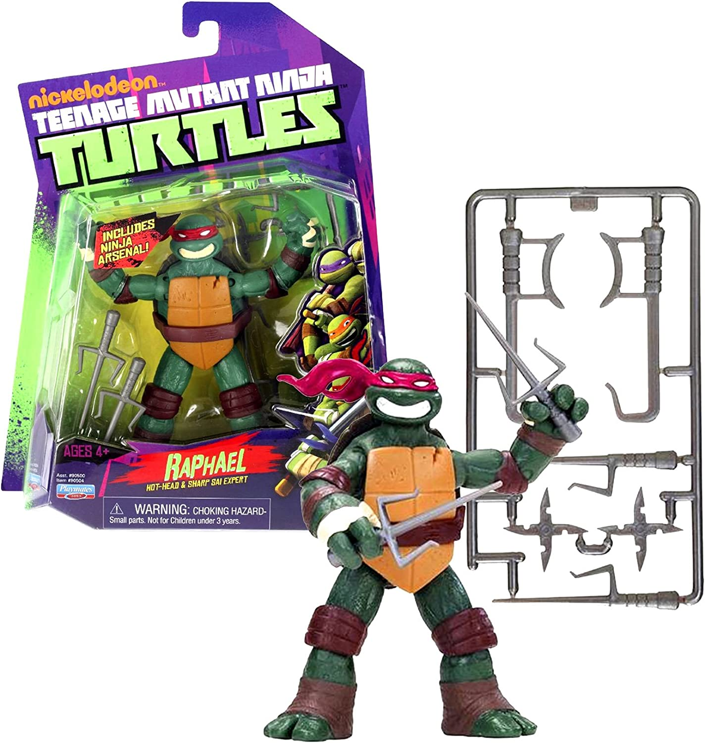 Playmates Year 2012 Nickelodeon Teenage Mutant Ninja Turtles 4 Inch Tall Action Figure - Hot Head and Sharp Sai Expert RAPHAEL with 2 Pair of Sais, 1 Pair of Hook Sword and 2 Shuriken Stars