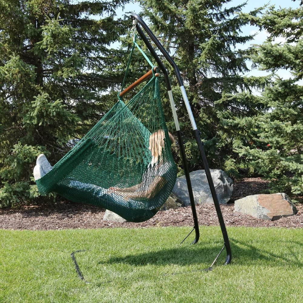 """Sunnydaze 40"""" Hanging Caribbean XL Hammock Chair with Adjustable Stand - Green - 300 lbs Weight Capacity"""