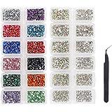 LIMGLIM 5136 piezas de diamantes de imitación de fondo plano con vidrio AB 6 tamaños y 12 piedras de vidrio de 3 mm de…