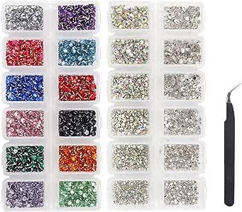 LIMGLIM 5136 piezas de diamantes de imitación de fondo plano con vidrio AB 6 tamaños y 12 piedras de vidrio de 3 mm de color mezclado para manualidades