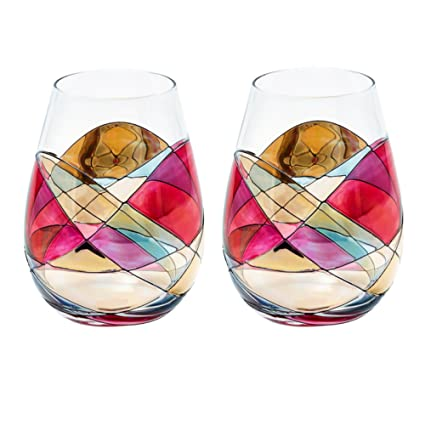 ANTONI BARCELONA Stemless Wine Glass SET 1 Unique Hand Painted Gifts for ...