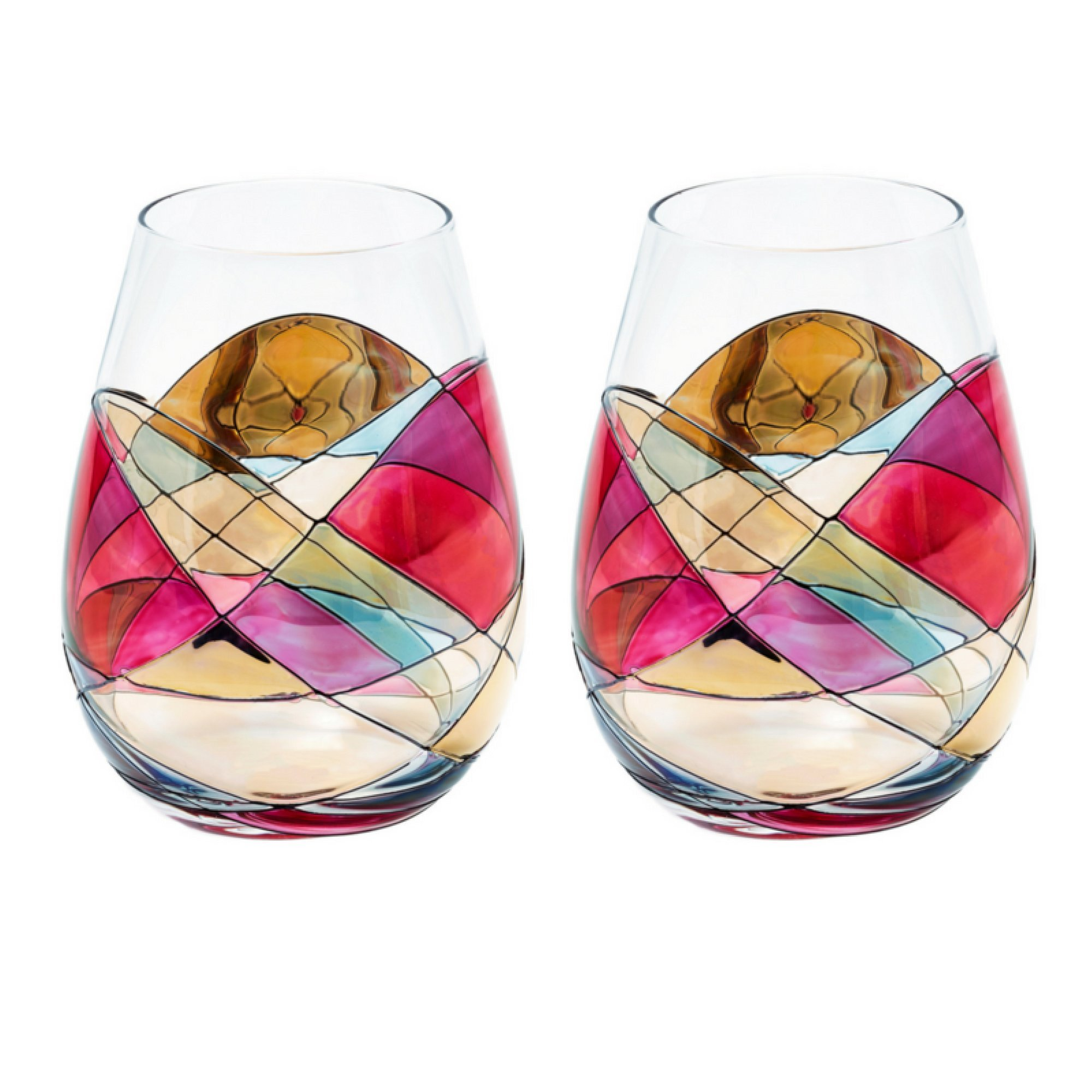 ANTONI BARCELONA Stemless Wine Glasses RED 21Oz - SET 2 - White or Red Wine, Unique Gifts Weddings Birthday Anniversary, Hand Painted & Mouth Blown Stunning Glassware Collection Popular Colorful (2)