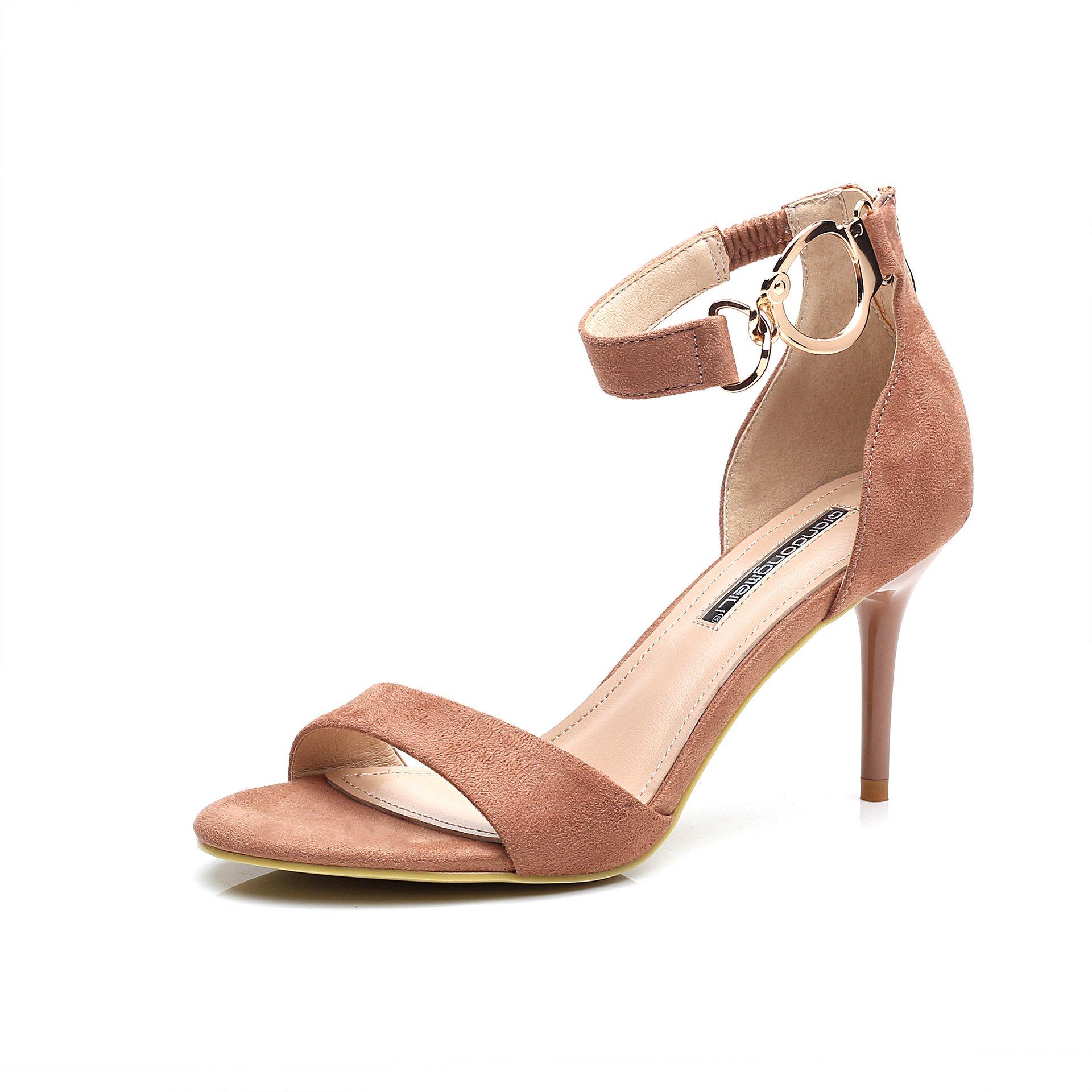 Korean women's shoes, black shoes fine with high heels buckle heels, pink, 35