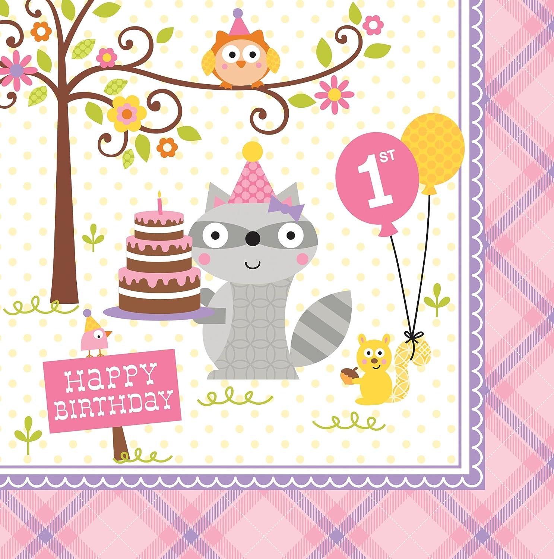 Creative Converting Lunch-Servietten Geburtstag Motiv: Zirkuszeit 1 16 St/ück Lunch Sweet at One Girls