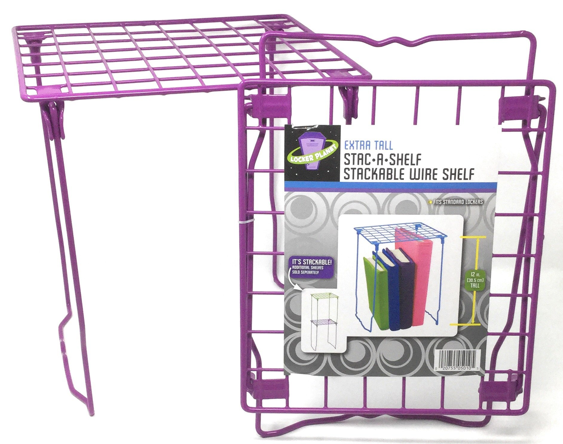 Locker Planet Purple - 12 inch Extra Tall Stackable Wire Shelf