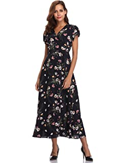 e4e9eaa46794 Floating Time Women's Floral Knot Sleeve Maxi Dress at Amazon ...