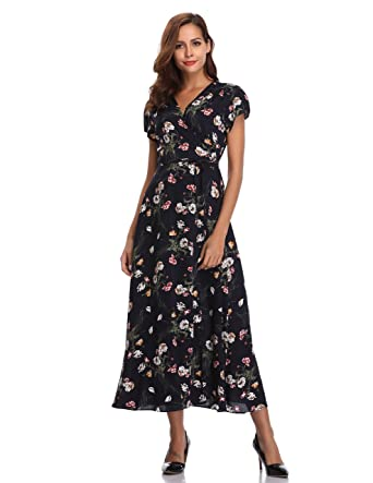 ae7fb33b8669 Floating Time Women's Floral Print Short Sleeve Maxi Wrap Dress(L, 801302-2