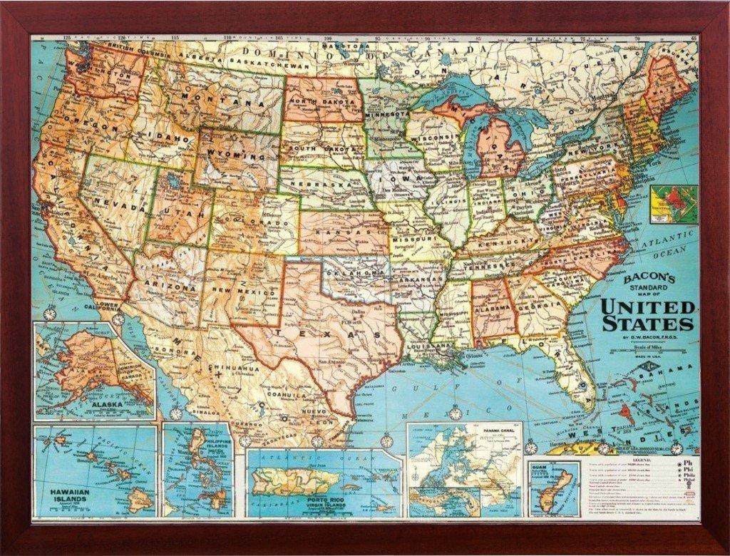 Amazoncom USA Travel Map Decorative Vintage Parchment X - Us parchment map