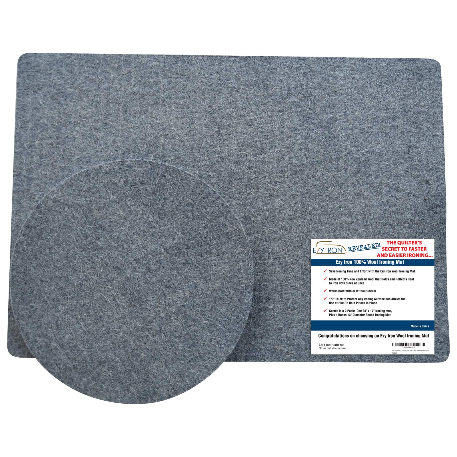 Wool Pressing Mat for Quilters - Quilting Supplies - 2 Pack - 24 x 17 inches + 13 inch Round Pad - 100% New Zealand Wool Felted Ironing Board Pads by Ezy Iron