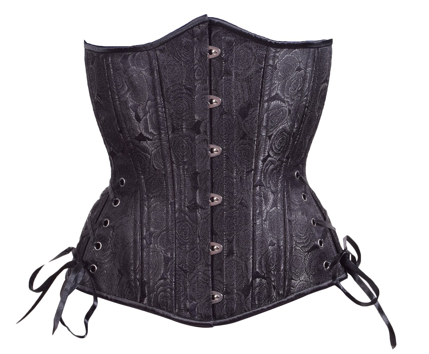 Timeless Trends Womens Steel Boned Waist Training Floral Long Corset 22 Black