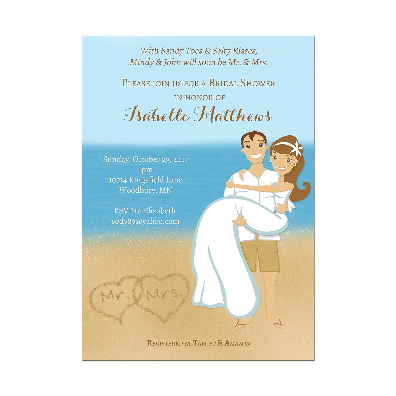 Amazon Com Beach Bridal Shower Invitation Couples Shower