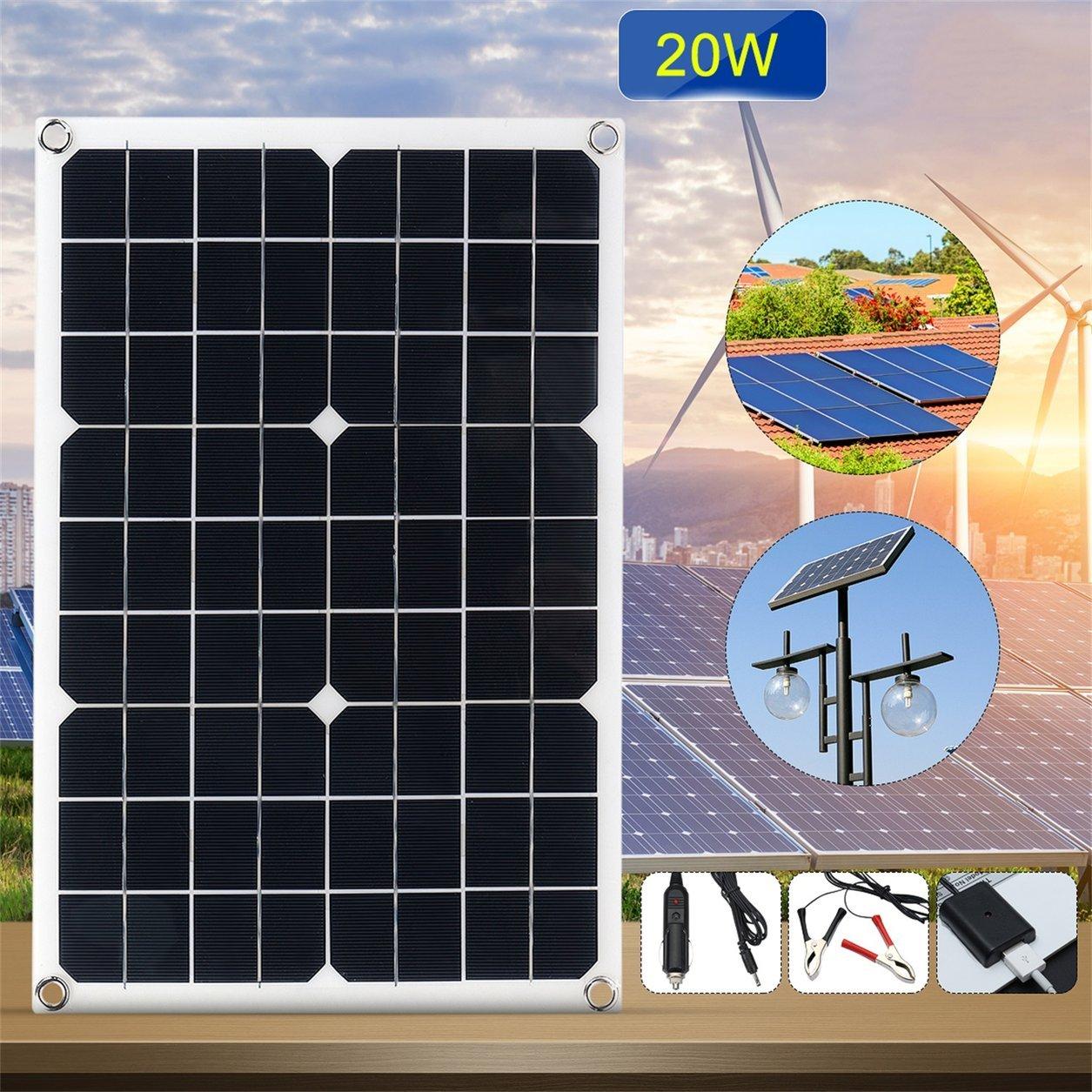 Couleur: Noir Dailyinshop 12V//5V DC Panneau Solaire de Batterie /étanche pour Le Chargeur de Voiture d/éclairage de T/él/éphone