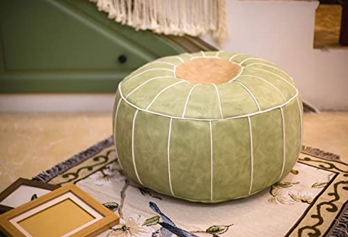 RISEON Boho Handmade Faux PU Leather Moroccan Pouf Footstool Ottoman Leather Poufs Unstuffed 23 x 11 -Round Floor Cushion Footstool for Living Room, Bedroom and Under Desk Green