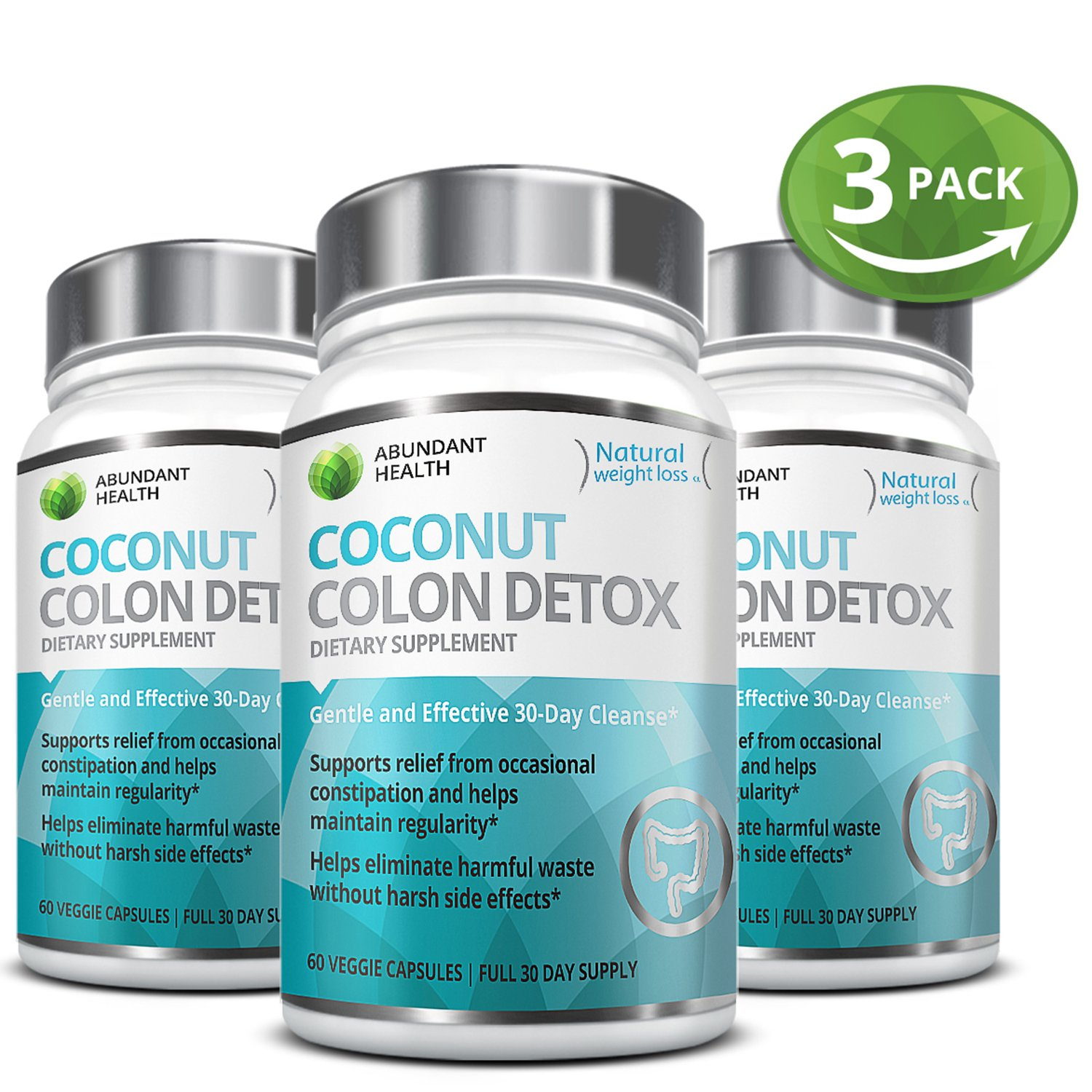 3 Bottle Bundle - Save an Extra 10% - Gentle Colon Detox Cleanse HELPS Reduce Bloating Constipation and Weight Loss 25 Day Quick Cleanse