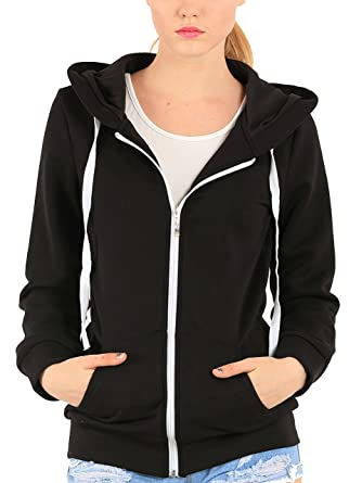 29821d8937a8 Easyhon Womens Lightweight Soft Zip Up Fleece Hoodie Sweater Jacket ...
