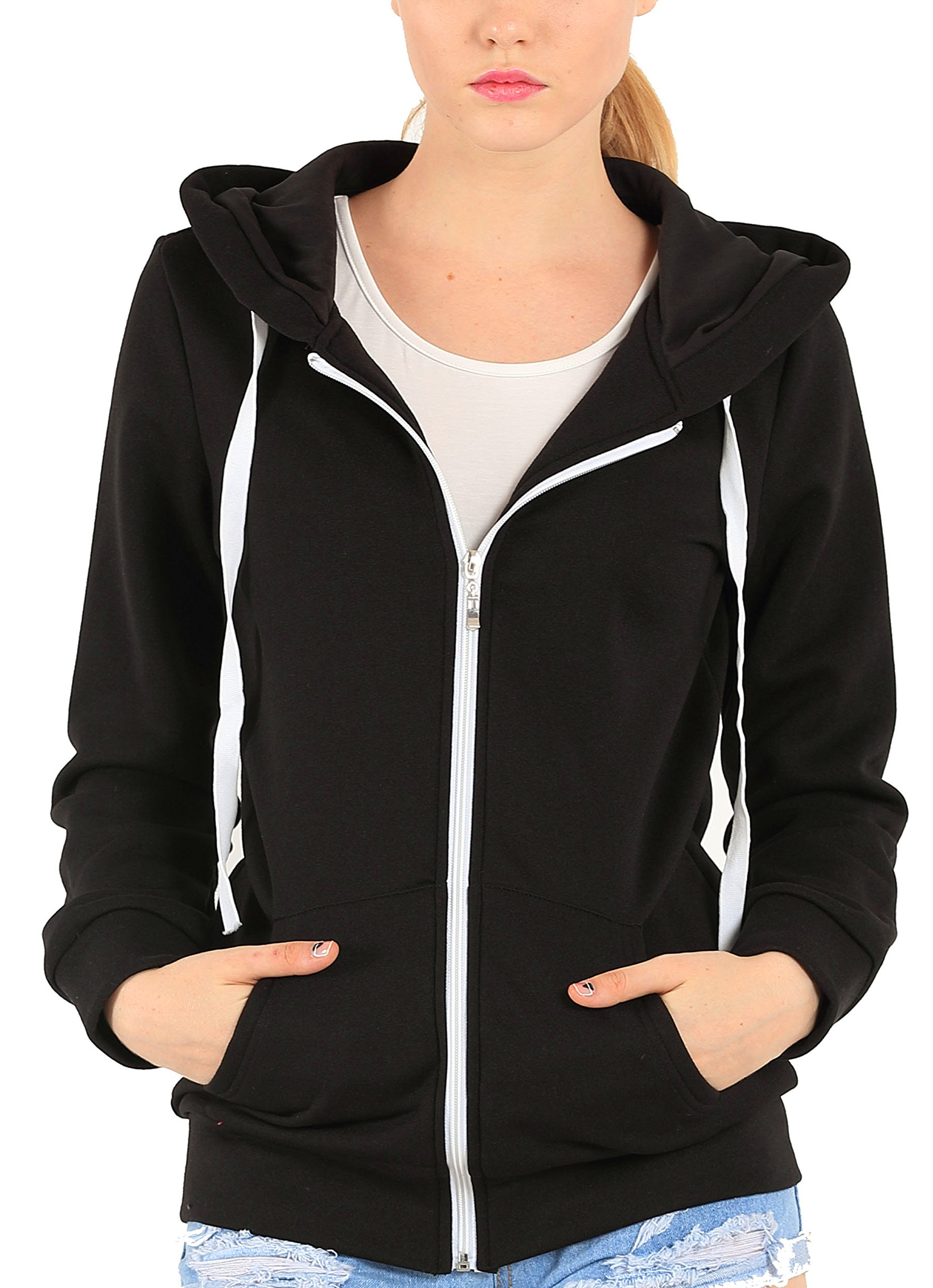 Easyhon Womens Soft Zip up Fleece Hoodie Sweater Jacket (Large, Black)