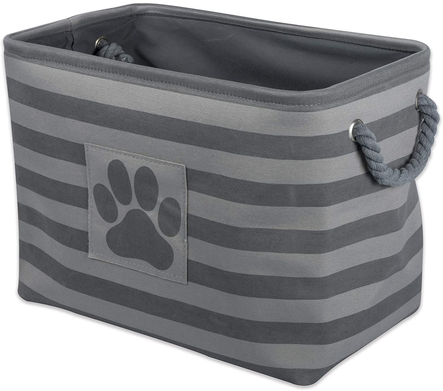 Bone Dry Striped Paw Patch Bin, Large Rectangle, Gray