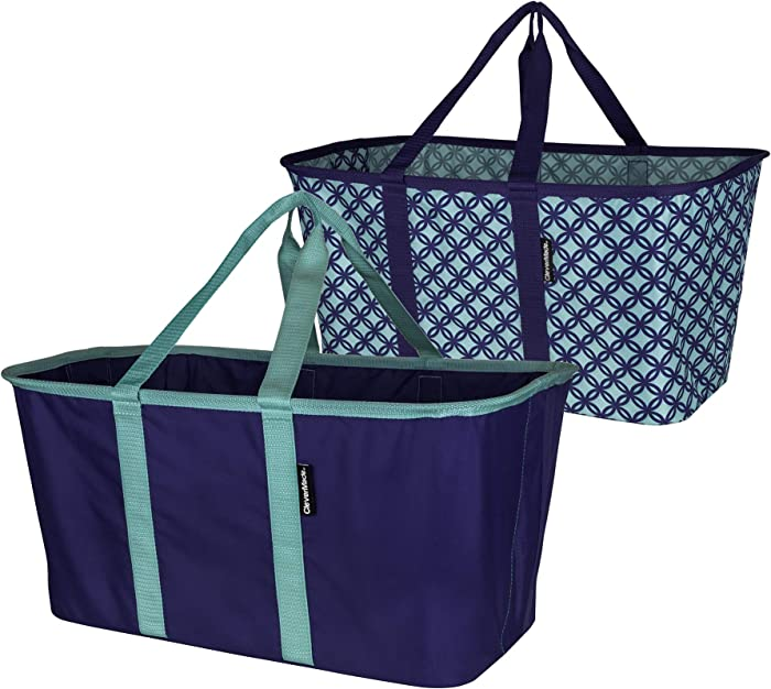 CleverMade Collapsible Fabric Laundry Basket - Foldable Pop Up Storage Container Organizer - Space Saving Hamper with Carry Handles, Pack of 2, Navy/Teal and Teal/Navy, Model:7076-4027-52172PK