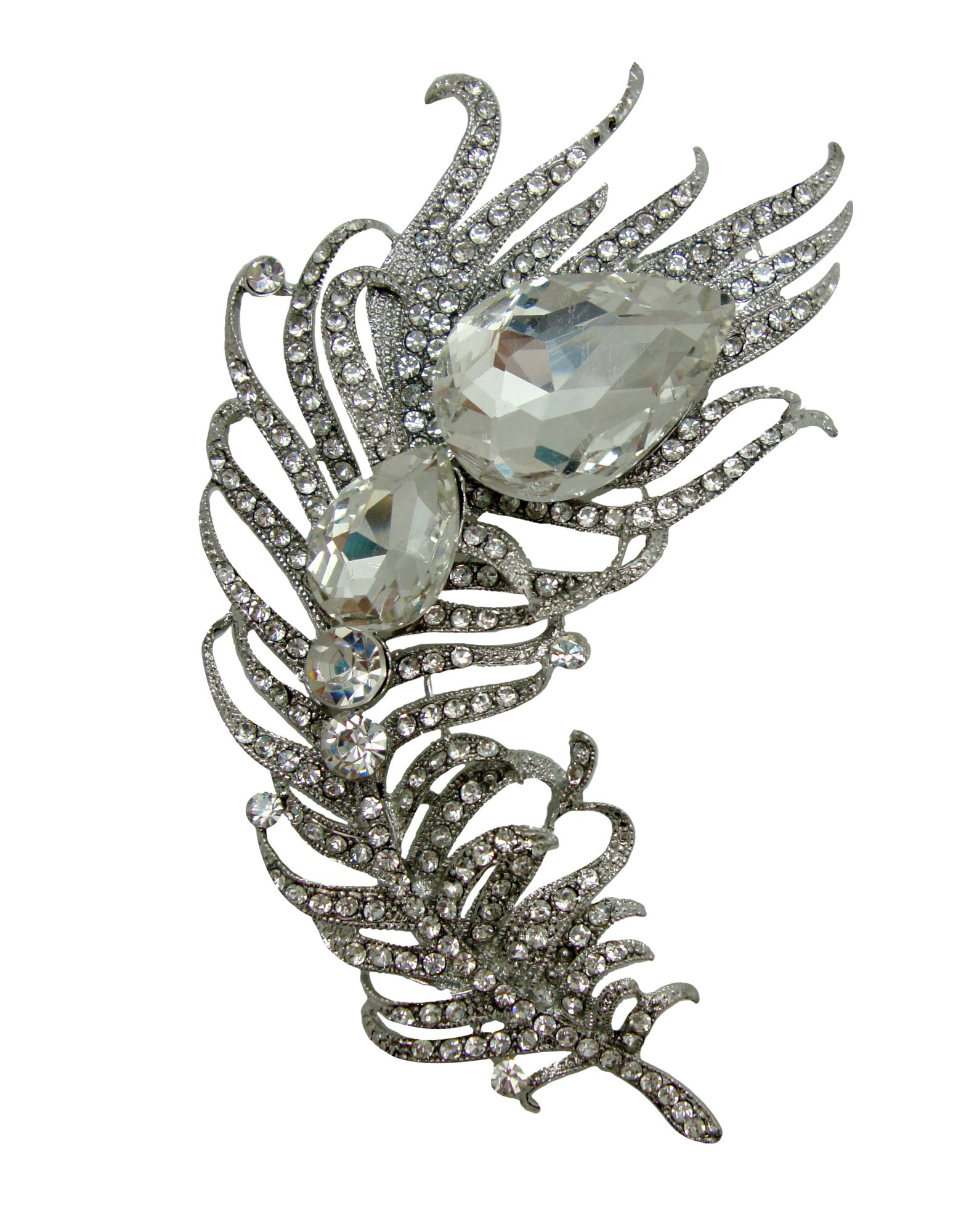 TTjewelry Fashion Classic Bending Peacock Feather Clear White Bridal Rhinestone Crystal Brooch Pin