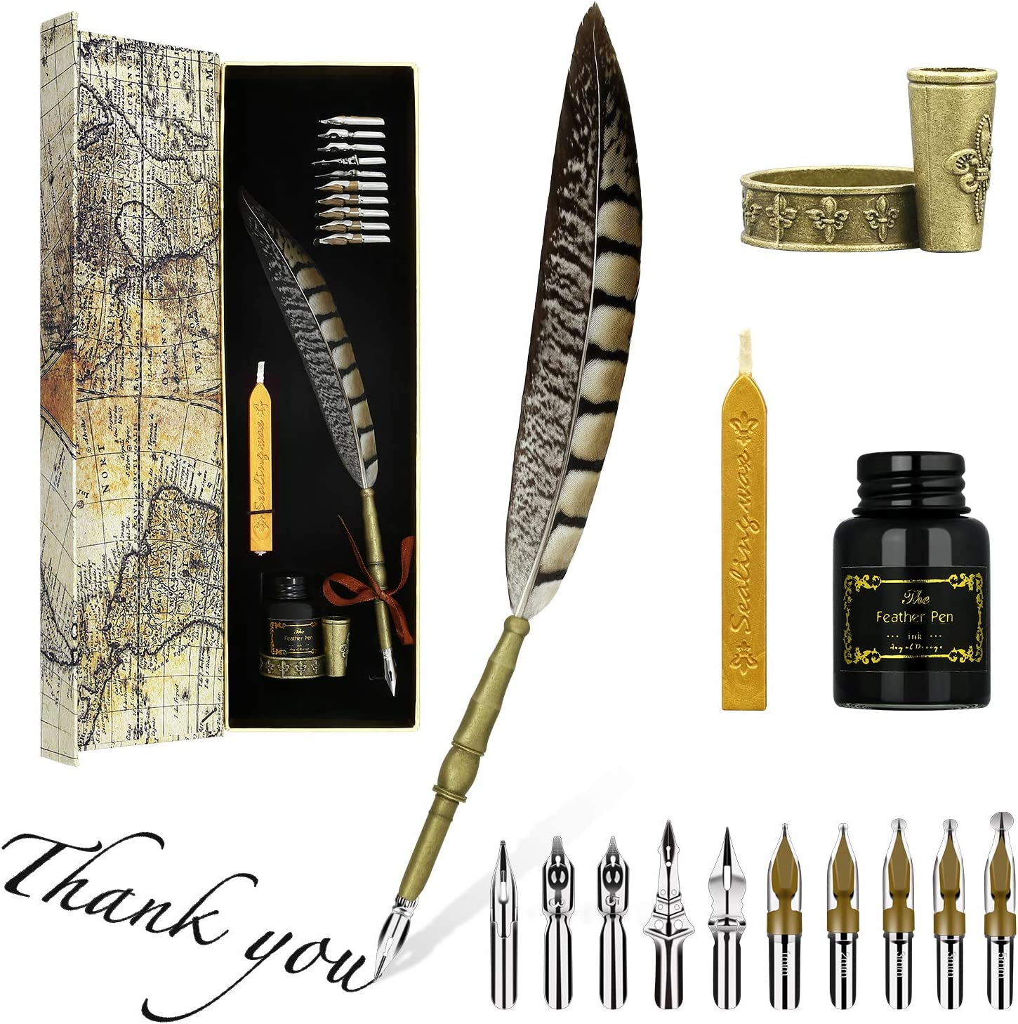 Holder Ink Nibs Wax Calligraphy Retro Carve Dip Feather Quill Fountain Pen
