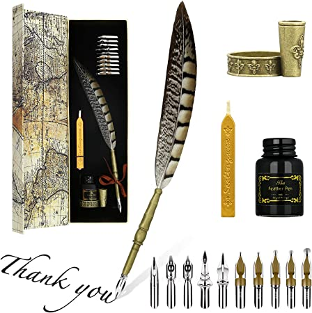 Executive Gift(Black) White Wax,spoon Carving Feather Pen Set,Calligraphy Set Includes Feather Dip Pen,Bottle of Ink,5 Replacement Nibs,3 Wax Seal Sticks,Pen Nib Base,Seal Stamp