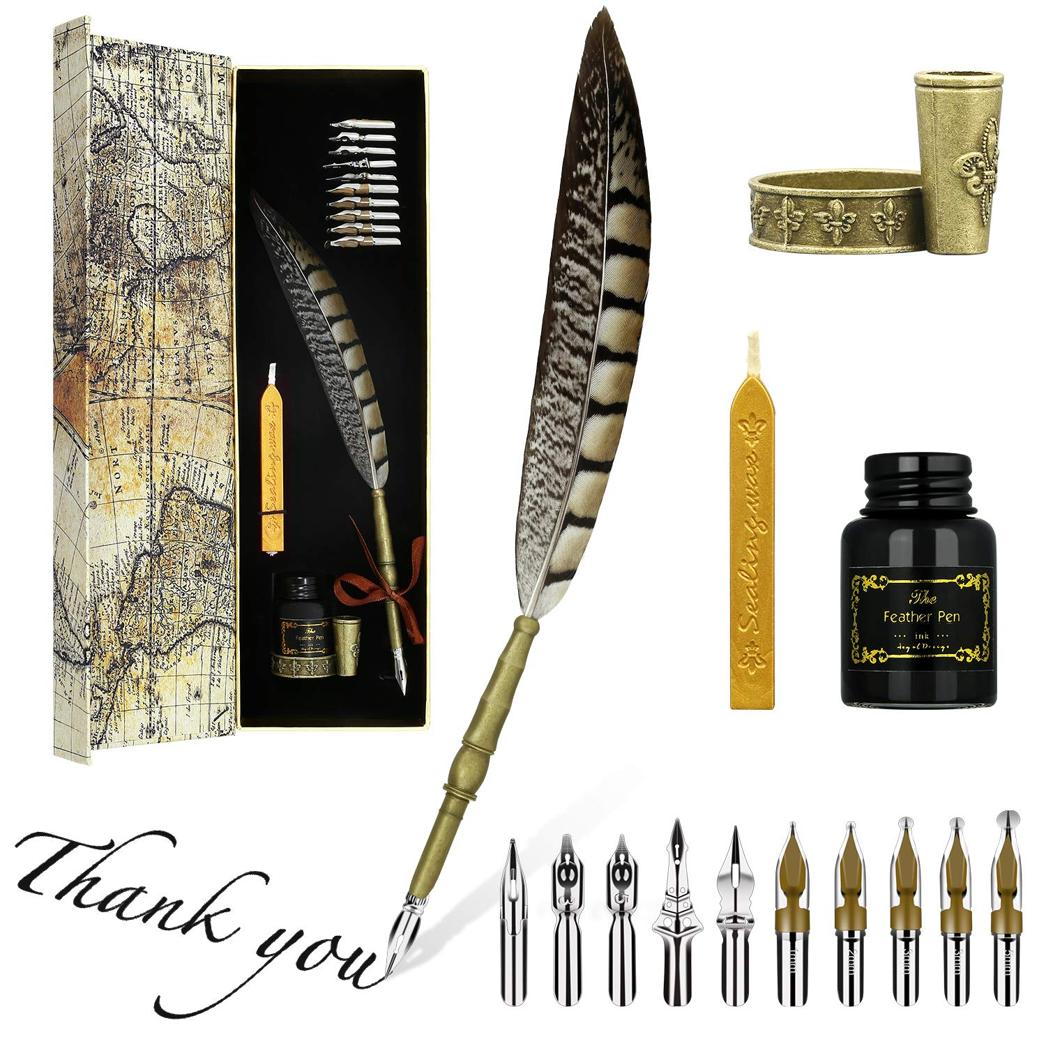 GolWof Quill Pen Dip Pen and Ink English Calligraphy Pen Set Pen 5 Feather Pen