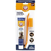 Arm & Hammer Dog Dental Care Tartar Control Kit for Dogs | Contains Toothpaste, Toothbrush & Fingerbrush | Reduces Plaque & Tartar Buildup | Safe for Puppies, 3-Piece Kit, Beef Flavor