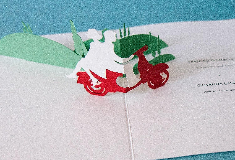 Vespa Pop-Up Wedding Invitation • Bespoke • Hand made in Italy ...