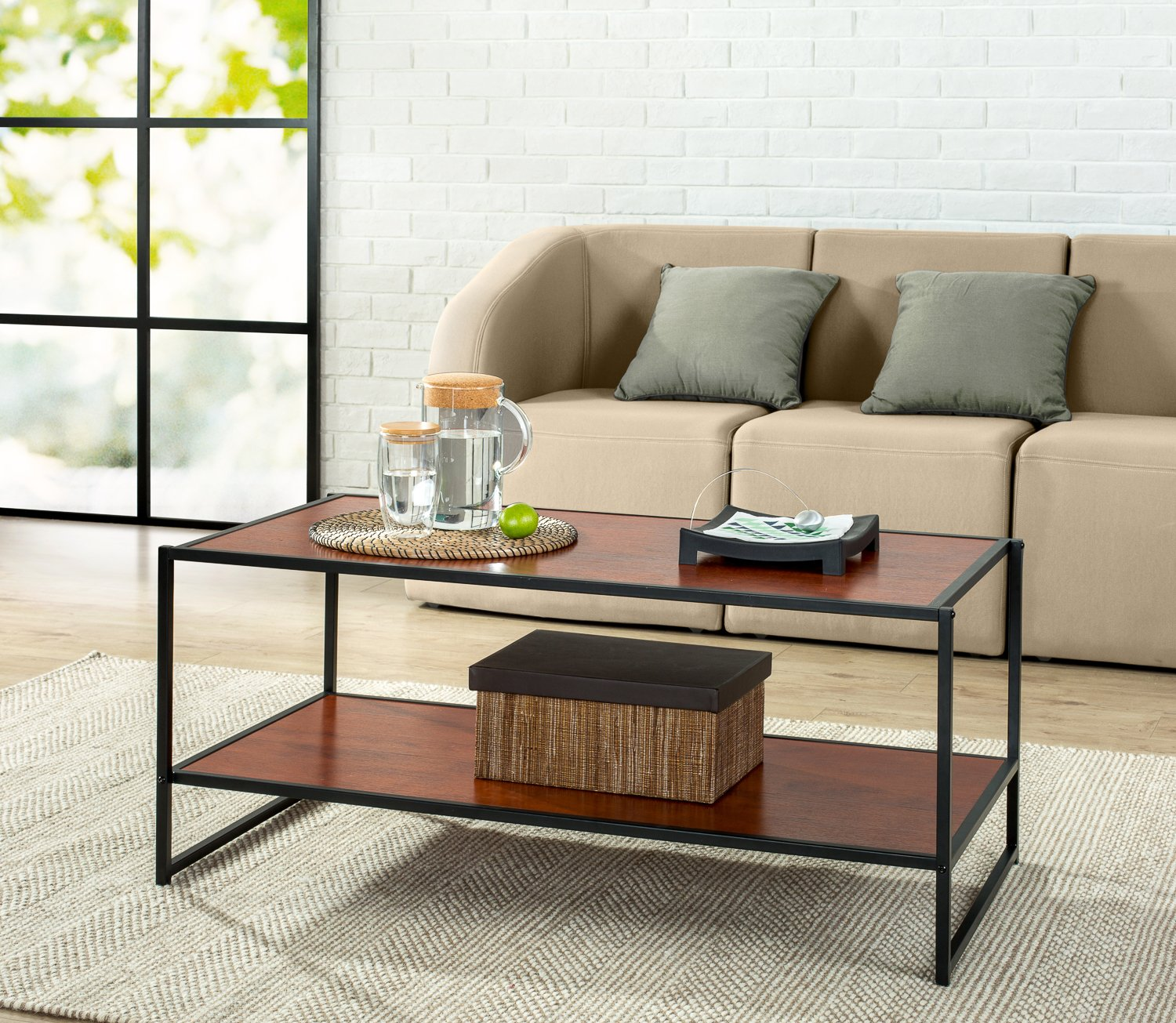 Amazon Zinus Modern Studio Collection Deluxe Rectangular Coffee Table Brown Kitchen Dining