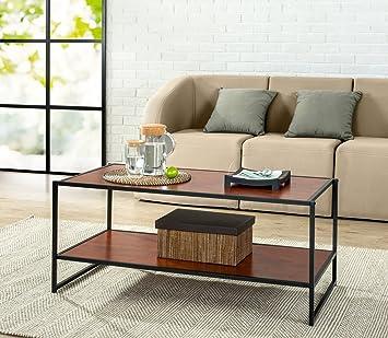 zinus modern studio collection deluxe rectangular coffee table brown