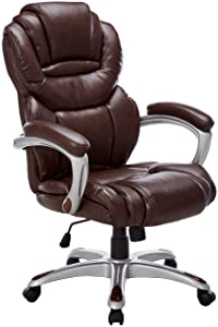Flash Furniture High Back Brown Leather Executive Swivel Ergonomic Office Chair with Arms -