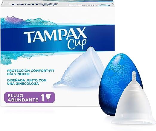 Tampax Copa Menstrual Flujo Abundante, Protección Comfort-Fit Día y Noche, Fabricada 100% con Silicona Médica, Testada Clínicamente, Fácil de limpiar, ...
